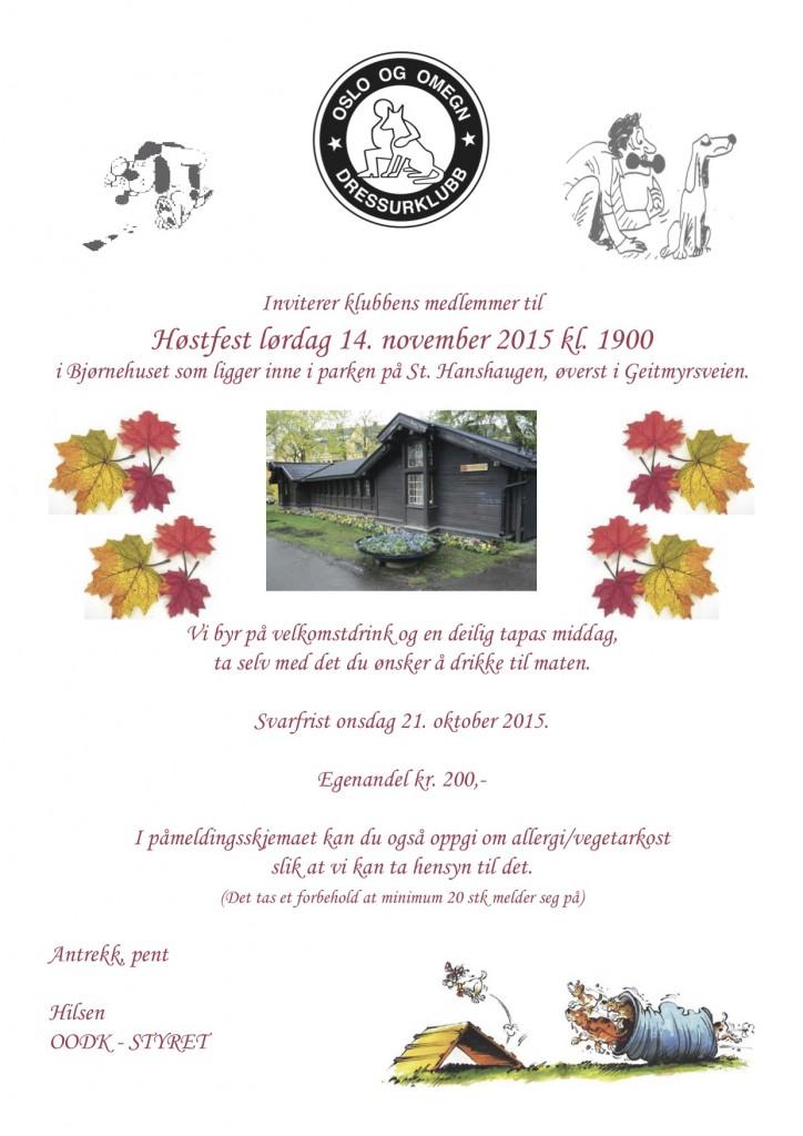 Invitasjon Høstfest 2015